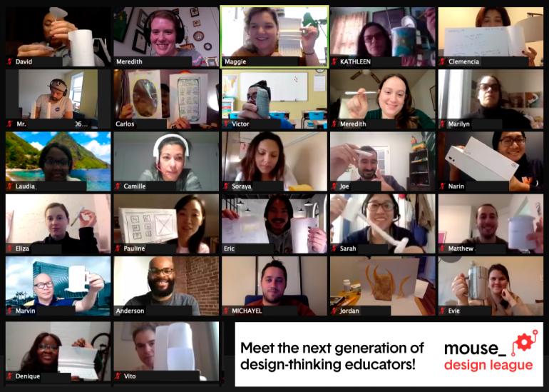 A screenshot of a zoom pd training with dozens of teachers.