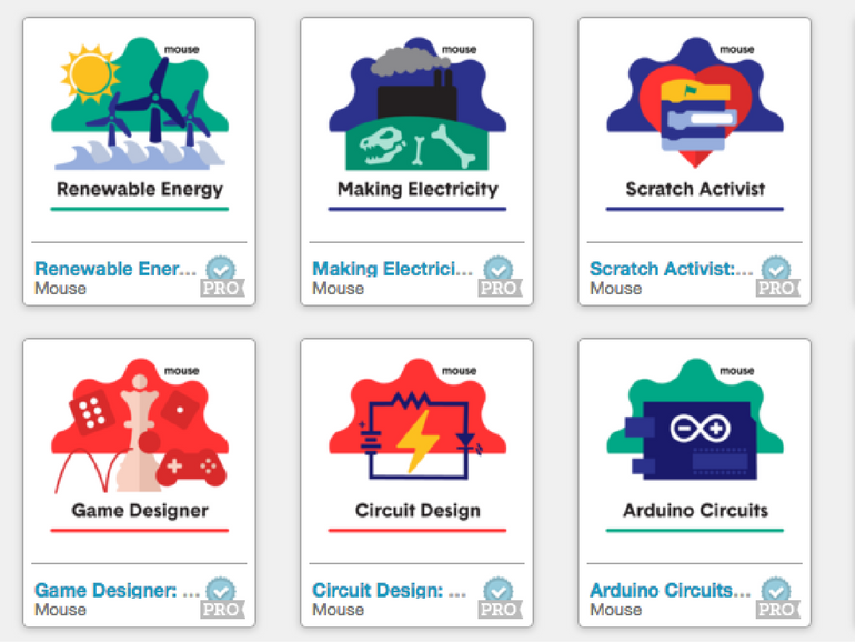 Image of six Mouse Digital Badges